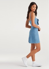7 For All Mankind Double Bow Tie Dress in Bright Blue Jay