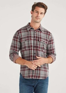 7 For All Mankind Double Face Plaid Patch Pocket Shirt in Burgundy