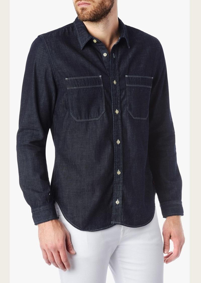 7 For All Mankind Double Pocket Denim Shirt in Dark Indigo Rinse