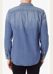 7 For All Mankind Double Pocket Denim Shirt in Light Indigo