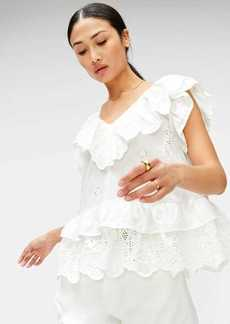 7 For All Mankind Double Ruffle Eyelet Top in Optic White
