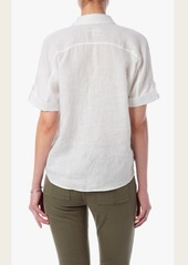 7 For All Mankind Draped Crossfront Top in Blanc de Blanc