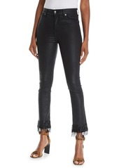 7 For All Mankind Edie Coated Skinny Jeans with Beaded Fringe