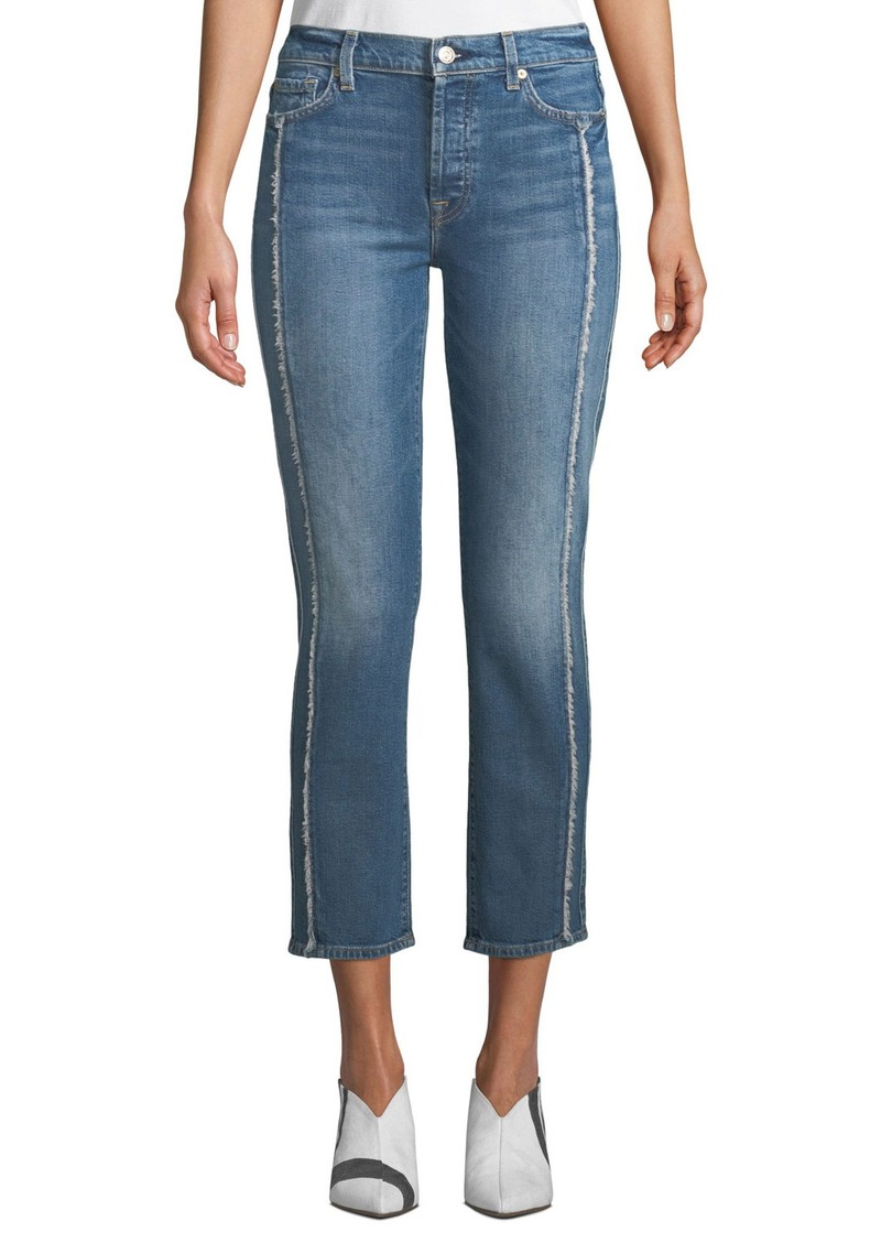 7 For All Mankind Edie Cropped Straight-Leg Jeans w/ Grommets