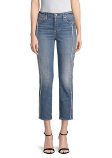 7 For All Mankind Edie Frayed Seam Cropped Jeans