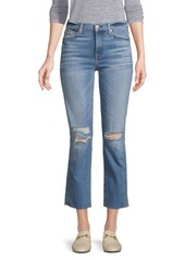 7 For All Mankind Edie High Rise Ankle Straight-Leg Distressed Jeans