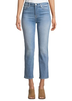 7 For All Mankind Edie High-Rise Ankle Straight-Leg Jeans  Vintage Azure