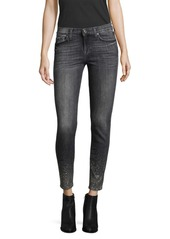 7 For All Mankind Embellished Cropped Skinny Jeans