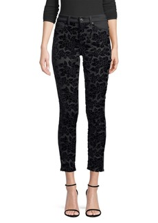 7 For All Mankind Embellished Floral Ankle Skinny Jeans