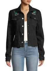 7 For All Mankind Embellished Frayed Denim Trucker Jacket
