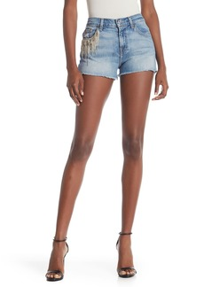 7 For All Mankind Embroidered Cut Off Short