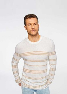 7 For All Mankind Engineered Stripe Sweater in White & Tan