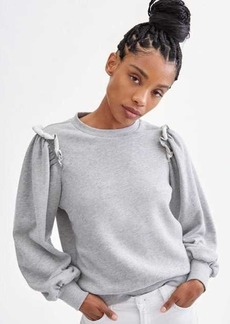 7 For All Mankind Exposed Ruffle Shoulder Sweater in Heather Charcoal