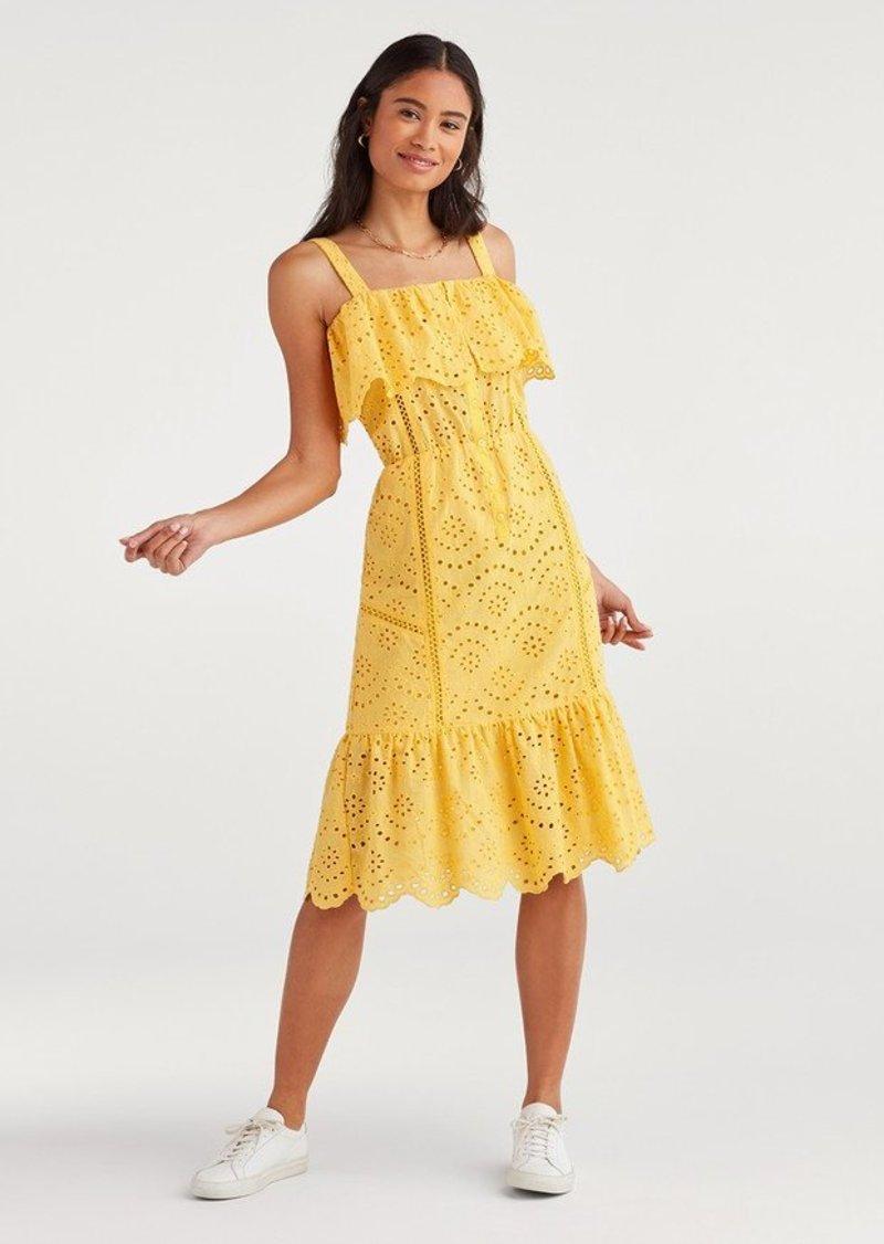 7 For All Mankind Eyelet Midi Dress in Dandelion