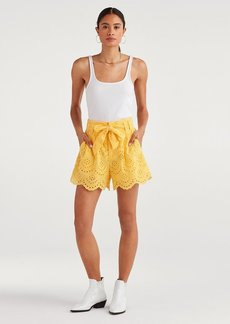 7 For All Mankind Eyelet Short in Dandelion