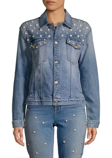 7 For All Mankind Faux Pearl Embellished Denim Jacket