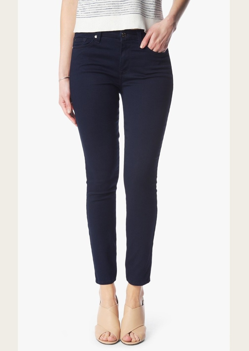7 For All Mankind Featherweight Denim High Waist Ankle Skinny in Rich Blue