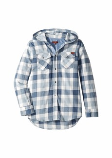 7 For All Mankind Flannel Plaid Hooded Sport Shirt (Big Kids)