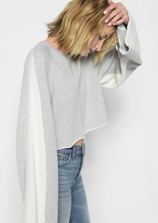 7 For All Mankind Flare Sleeve Crop Sweatshirt in Heather Grey