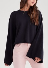 7 For All Mankind Flare Sleeve Crop Sweatshirt in Jet Black