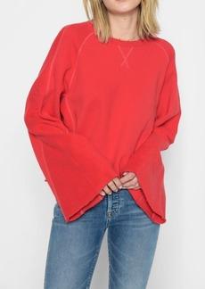 7 For All Mankind Flare Sleeve Crop Sweatshirt in Poppy
