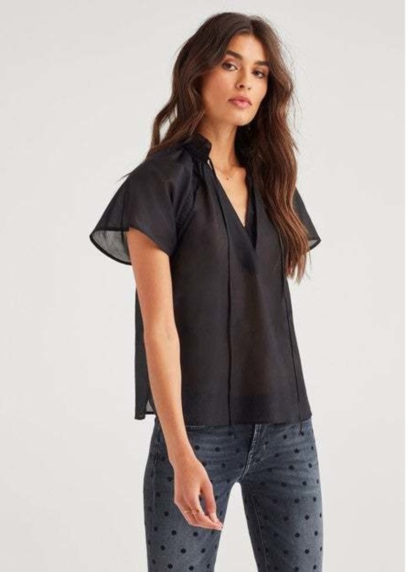 7 For All Mankind Flare Sleeve Raglan Top in Jet Black