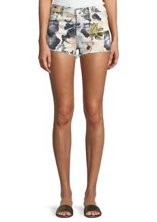 7 For All Mankind Floral-Print Cutoff Denim Shorts