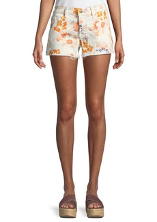 7 For All Mankind Floral-Print Cutoff Shorts
