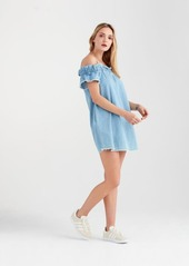 7 For All Mankind Flounce Strap Dress in Soft Blue Skies