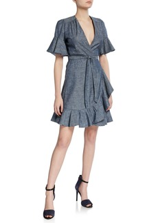 7 For All Mankind Flutter-Sleeve Chambray Wrap Dress