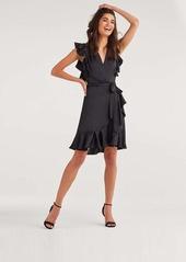 7 For All Mankind Flutter Sleeve Wrap dress in Jet Black