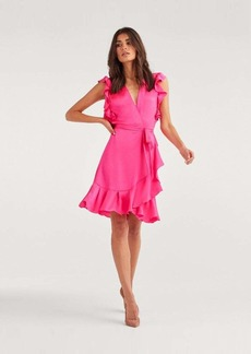 7 For All Mankind Flutter Sleeve Wrap dress in Paradise Pink