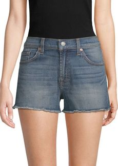 7 For All Mankind Frayed Denim Cut-Off Shorts