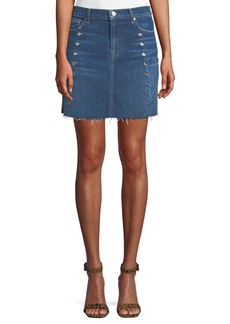7 For All Mankind Frayed Denim Mini Skirt with Eyelets