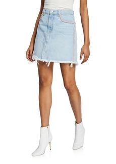 7 For All Mankind Frayed Denim Short Skirt with Fringe