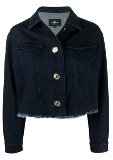 7 For All Mankind frayed-hem cropped denim jacket