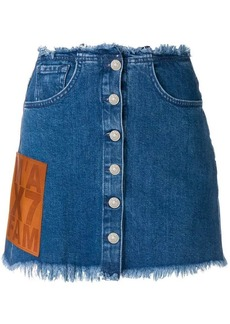 7 For All Mankind frayed hem denim skirt