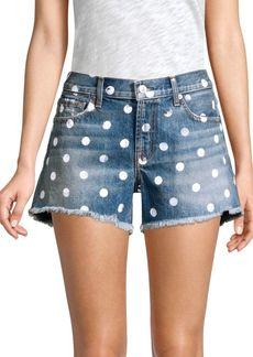 7 For All Mankind Frayed Hem Polka Dot Jean Shorts