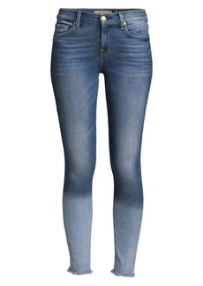 7 For All Mankind Frayed-Hem Skinny Ankle Jean