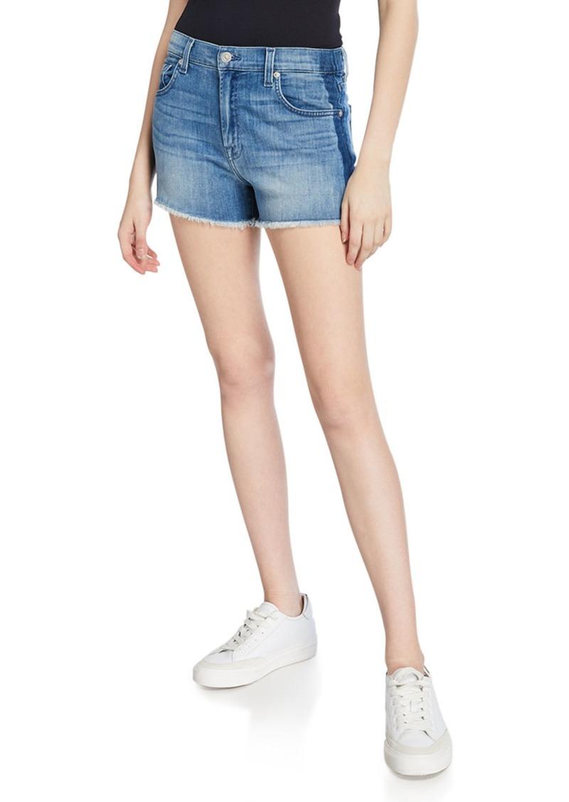 7 For All Mankind Frayed Shadow Side Stripe High Waist Shorts