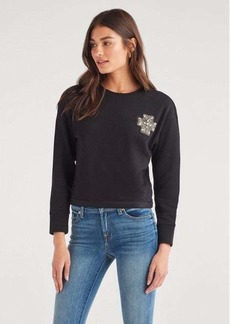 7 For All Mankind French Terry Embellished Brooch Sweatshirt in Jet Black