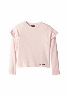 7 For All Mankind French Terry Ruffle Sweatshirt (Big Kids)