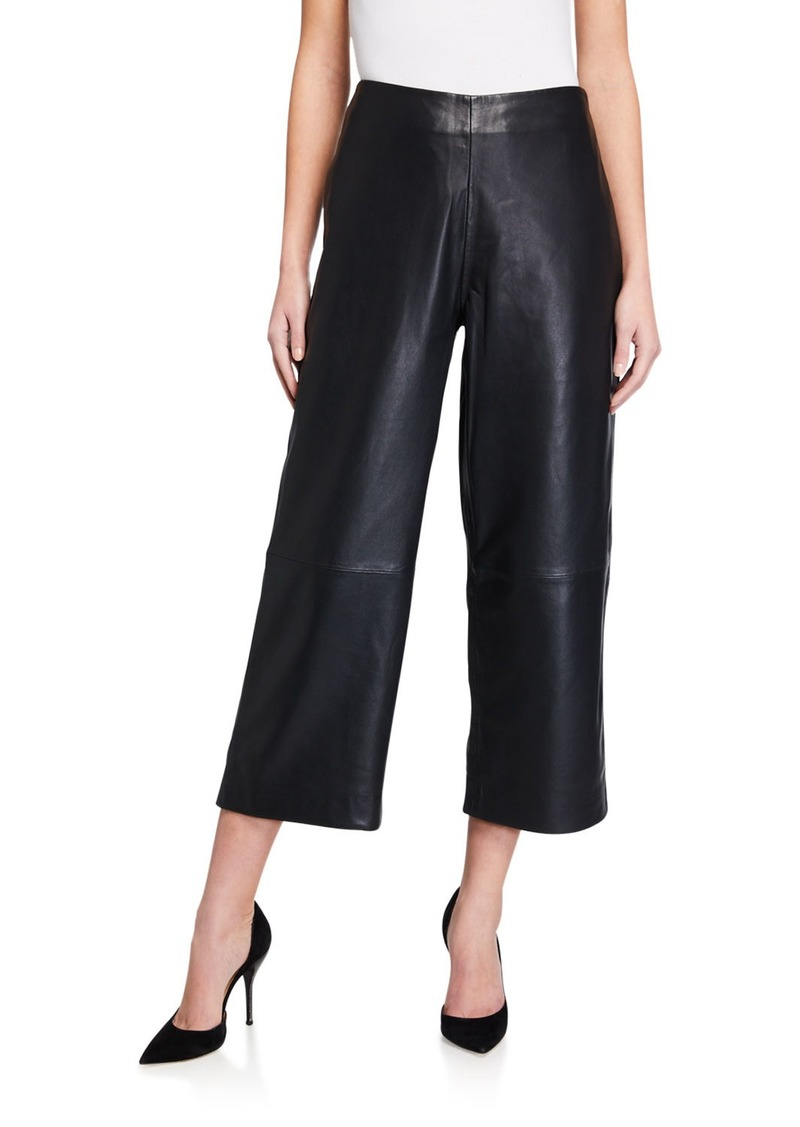 Genuine Leather Wide Leg Pants