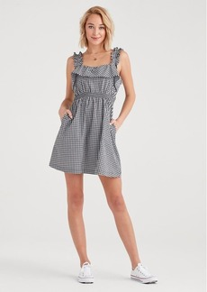 7 For All Mankind Gingham Ruffle Dress in Black and White