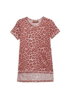 7 For All Mankind Girl's Leopard-Print High-Low Cotton-Blend Top