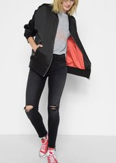 """7 For All Mankind Graphic Satin """"Things Change"""" Bomber in Black with Red Embroidery"""