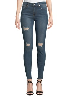 7 For All Mankind Gwenevere High-Waist Distressed Skinny Jeans
