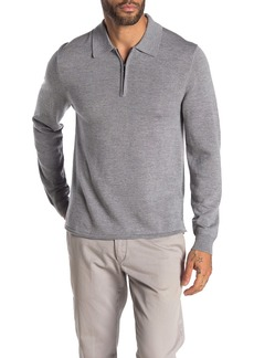 7 For All Mankind Half Zip Long Sleeve Merino Wool Polo