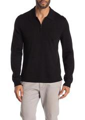 7 For All Mankind Half Zip Long Sleeve Merino Wool Polo