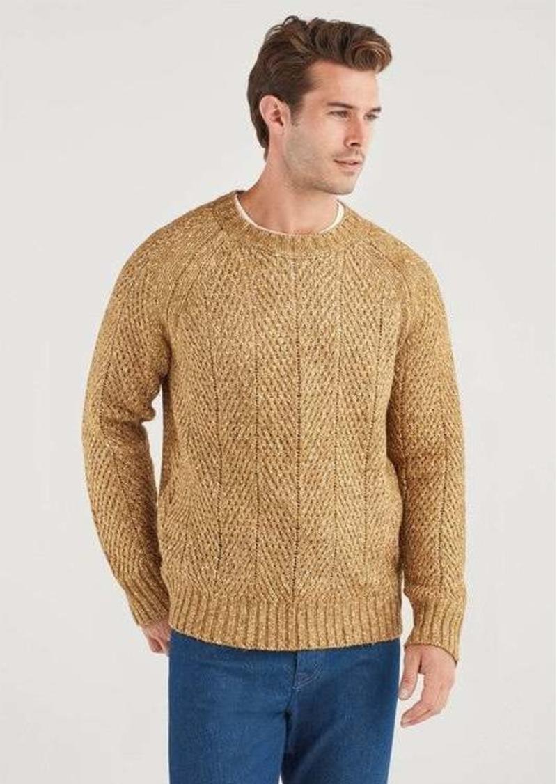 7 For All Mankind Herringbone Crew Neck Sweater in Heritage Gold